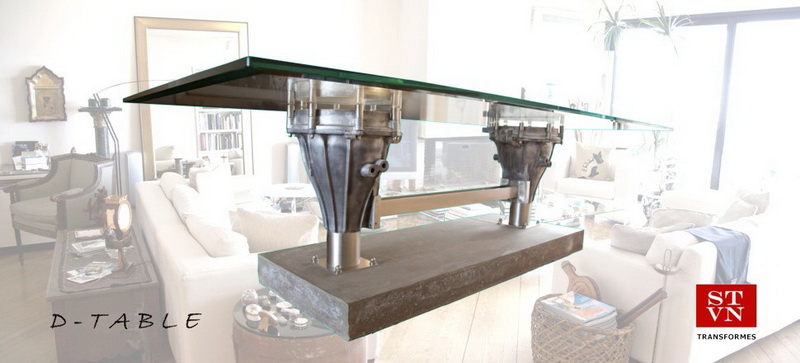 DINING TABLE Marine Search Lights on a Concrete Base with a Crystal Surface