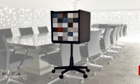 OFFICE WHEELED CABINET Three Drawers Formica Samples surface and Wheeled Chair Base Stand