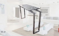 CONSOLE TABLE Vitro Glass Surface between Two Infrangible Crystals Inox Frame and Base
