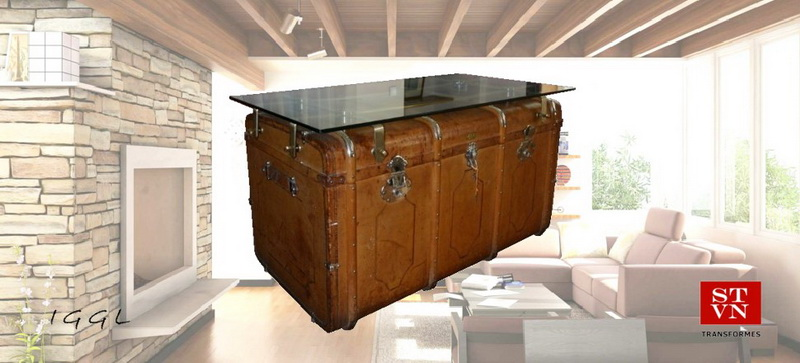 COFFEE TABLE Antique Leather Steamer Chest With Bronze Base and Crystal Surface