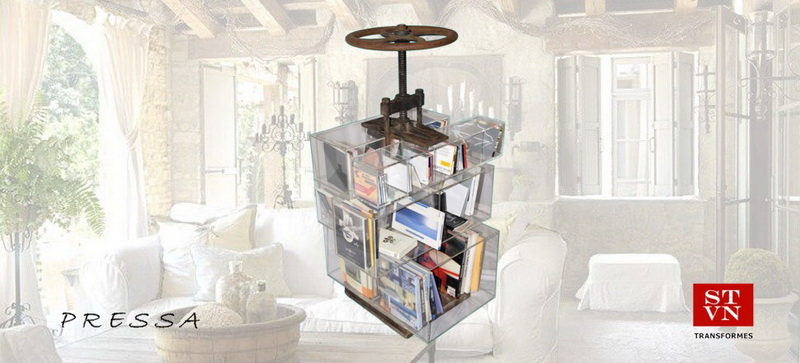 BOOKCASE Old Oil Press with Plexiglass Shelves