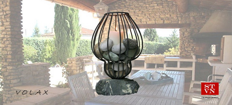 CANDLESTICK Iron Body from Old Table Lamp Pebbles and Stone Base from Greek Seashores